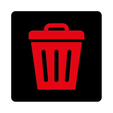 Trash Can icon. This rounded square flat button is drawn with intensive red and black colors on a white background. Illustration