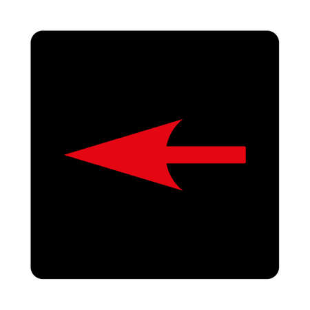 penetrating: Sharp Left Arrow icon. This rounded square flat button is drawn with intensive red and black colors on a white background.