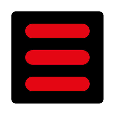 enumerated: Stack icon. This rounded square flat button is drawn with intensive red and black colors on a white background.