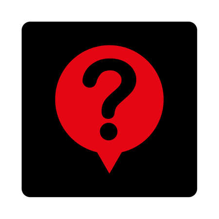 Status icon. This rounded square flat button is drawn with intensive red and black colors on a white background. Illustration