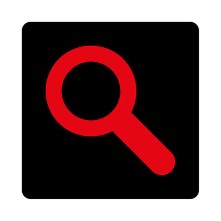 locate: Search icon. This rounded square flat button is drawn with intensive red and black colors on a white background. Illustration