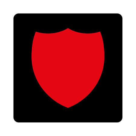 intensive: Shield icon. This rounded square flat button is drawn with intensive red and black colors on a white background.