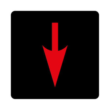 Sharp Down Arrow icon. This rounded square flat button is drawn with intensive red and black colors on a white background.