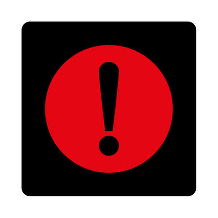 red sign: Problem icon. This rounded square flat button is drawn with intensive red and black colors on a white background. Illustration