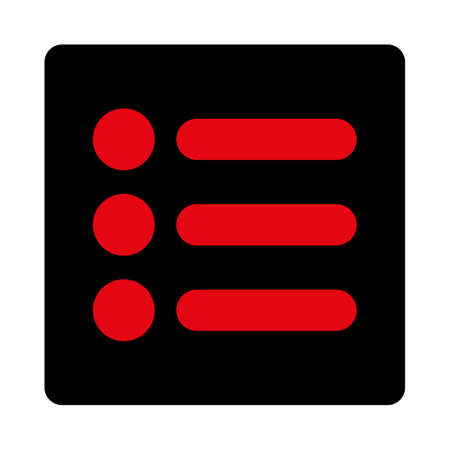 numerate: Items icon. This rounded square flat button is drawn with intensive red and black colors on a white background. Illustration