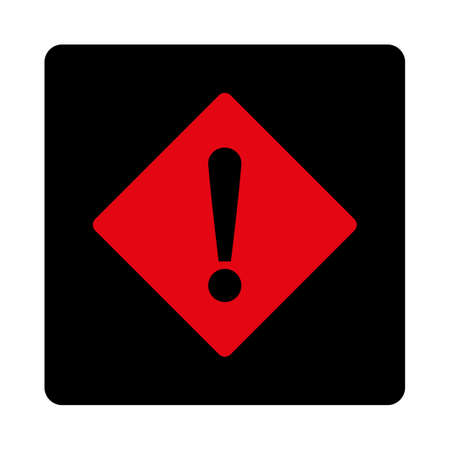 exclaim: Error icon. This rounded square flat button is drawn with intensive red and black colors on a white background. Illustration