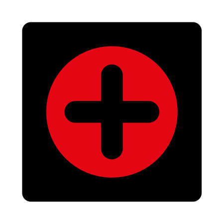 intensive care: Create icon. This rounded square flat button is drawn with intensive red and black colors on a white background.