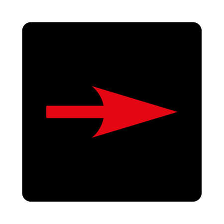 x axis: Arrow Axis X icon. This rounded square flat button is drawn with intensive red and black colors on a white background. Illustration