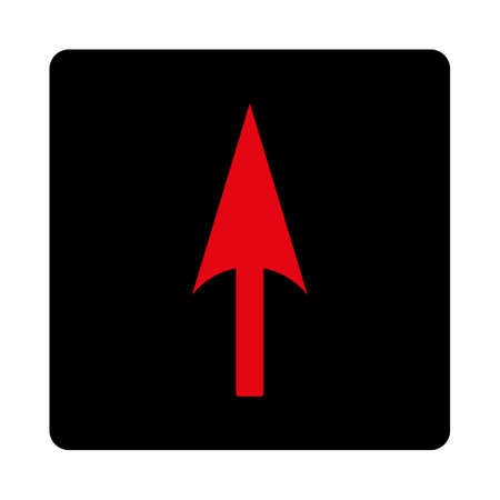 ordinate: Arrow Axis Y icon. This rounded square flat button is drawn with intensive red and black colors on a white background.