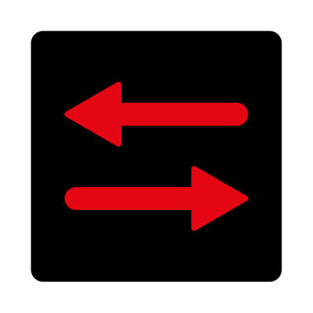 inverse: Arrows Exchange Horizontal icon. This rounded square flat button is drawn with intensive red and black colors on a white background. Illustration