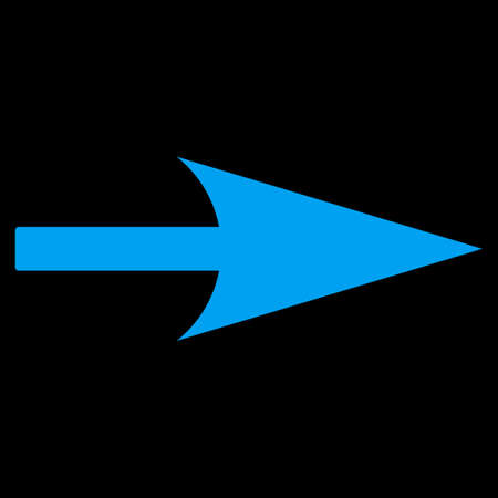 x axis: Arrow Axis X icon from Primitive Set. This isolated flat symbol is drawn with blue color on a black background.