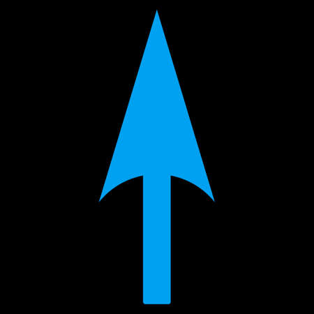ordinate: Arrow Axis Y icon from Primitive Set. This isolated flat symbol is drawn with blue color on a black background, angles are rounded.
