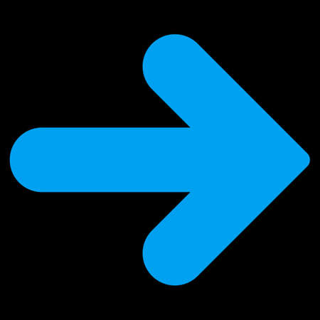 back link: Arrow Right icon from Primitive Set. This isolated flat symbol is drawn with blue color on a black background, angles are rounded. Stock Photo