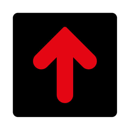 black button: Arrow Up icon. This rounded square flat button is drawn with intensive red and black colors on a white background.