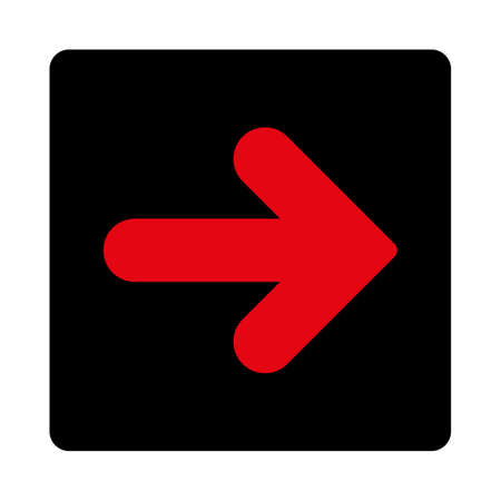 Arrow Right icon. This rounded square flat button is drawn with intensive red and black colors on a white background. Illustration