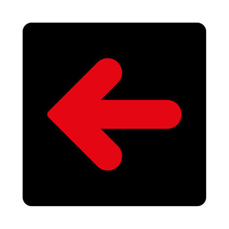 arrow left icon: Arrow Left icon. This rounded square flat button is drawn with intensive red and black colors on a white background.