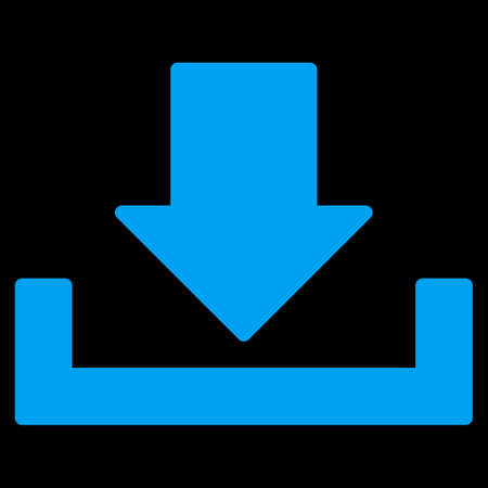 dropbox: Download icon from Primitive Set. This isolated flat symbol is drawn with blue color on a black background, angles are rounded. Stock Photo
