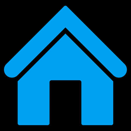 dwelling house: Home icon from Primitive Set. This isolated flat symbol is drawn with blue color on a black background, angles are rounded.