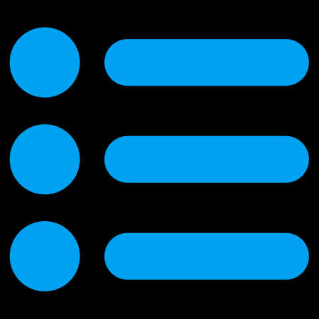 item list: Items icon from Primitive Set. This isolated flat symbol is drawn with blue color on a black background, angles are rounded.