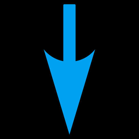 y axis: Sharp Down Arrow icon from Primitive Set. This isolated flat symbol is drawn with blue color on a black background.