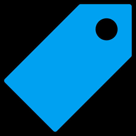 operand: Tag icon from Primitive Set. This isolated flat symbol is drawn with blue color on a black background, angles are rounded.