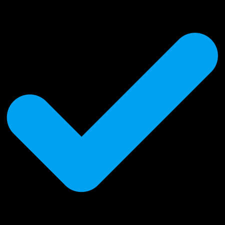 proceed: Yes icon. This flat vector symbol uses blue color, rounded angles, and isolated on a black background.