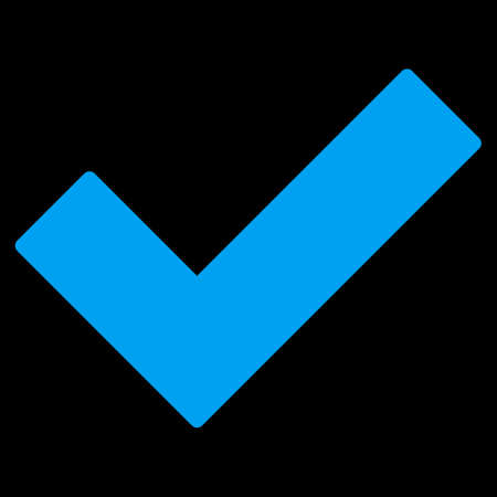 accept icon: Accept icon. This flat vector symbol uses blue color, rounded angles, and isolated on a black background.