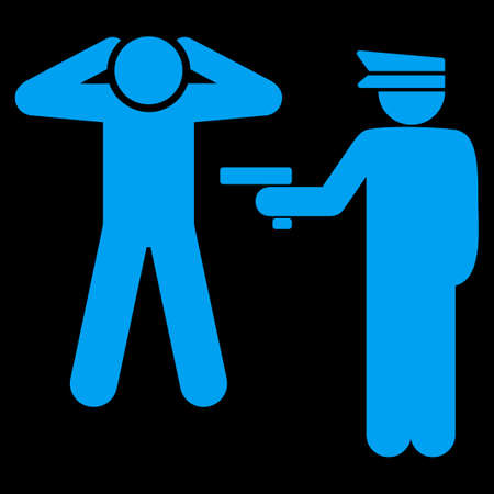 arrest: Arrest icon. This flat vector symbol uses blue color, rounded angles, and isolated on a black background.