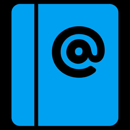 uses: Emails icon. This flat vector symbol uses blue color, rounded angles, and isolated on a black background.