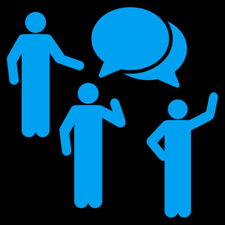 family discussion: Forum icon. This flat vector symbol uses blue color, rounded angles, and isolated on a black background. Illustration