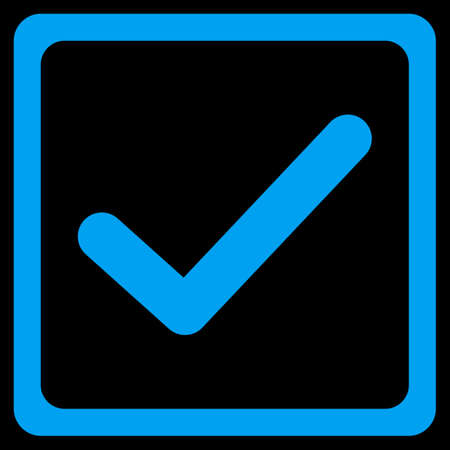 checkbox: Checked checkbox icon. This flat vector symbol uses blue color, rounded angles, and isolated on a black background.