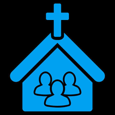 Church icon. This flat vector symbol uses blue color, rounded angles, and isolated on a black background.