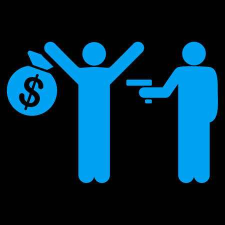 robbery: Robbery icon. This flat vector symbol uses blue color, rounded angles, and isolated on a black background.