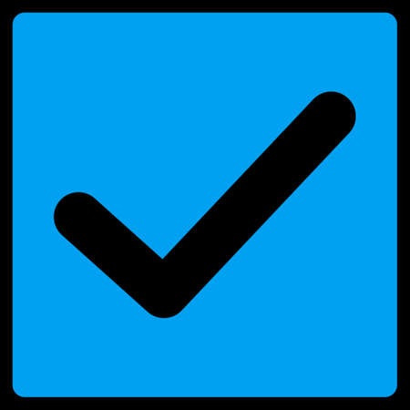 marked boxes: Check icon. This flat raster symbol uses blue color, rounded angles, and isolated on a black background. Stock Photo