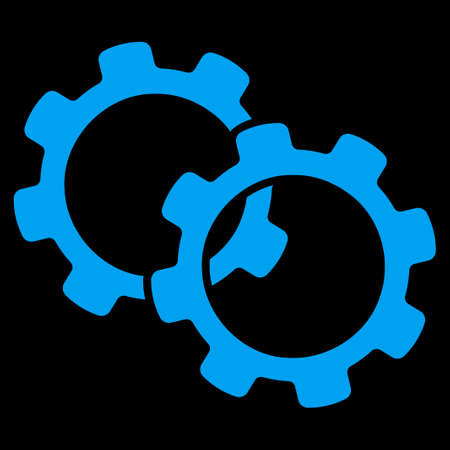 uses: Gears icon. This flat raster symbol uses blue color, rounded angles, and isolated on a black background.