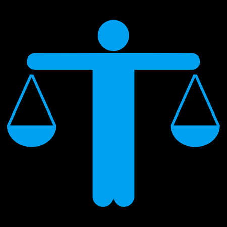 approximate: Lawyer icon. This flat raster symbol uses blue color, rounded angles, and isolated on a black background. Stock Photo