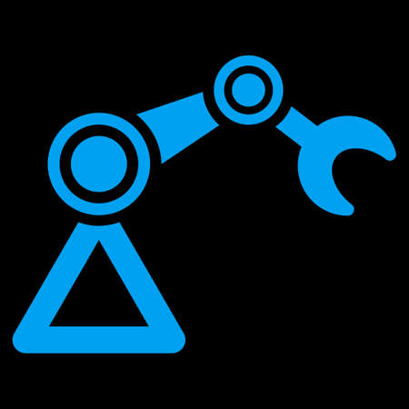 manipulator: Manipulator icon. This flat raster symbol uses blue color, rounded angles, and isolated on a black background. Archivio Fotografico