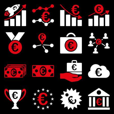wmd: Euro banking business and service tools icons. These flat bicolor icons use red and white colors. Images are isolated on a black background. Angles are rounded. Stock Photo