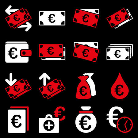 emergency cart: Euro banking business and service tools icons. These flat bicolor icons use red and white colors. Images are isolated on a black background. Angles are rounded. Stock Photo
