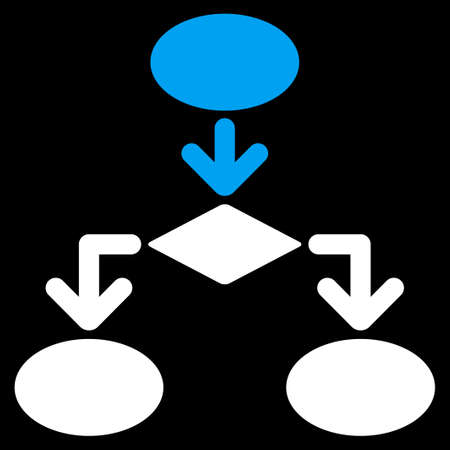 diagrama de flujo: icono de diagrama de flujo de Comercio Conjunto. estilo vector es s�mbolo plana bicolor, colores azul y blanco, �ngulos redondeados, fondo negro.