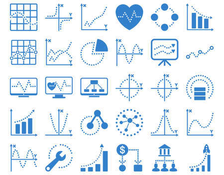 shortcuts: Dotted Charts Icons. These flat icons use cobalt color. Vector images are isolated on a white background. Illustration