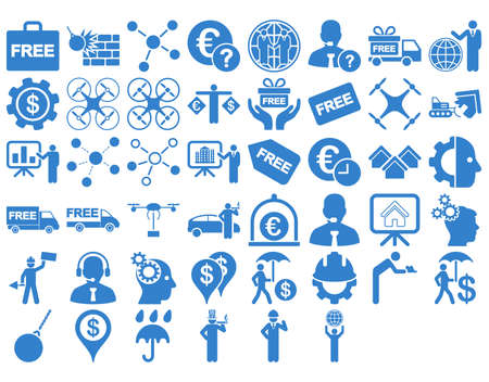 robot with shield: Business Icon Set. These flat icons use cobalt color. Vector images are isolated on a white background.
