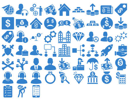 price gain: Commerce Icon Set. These flat icons use cobalt color. Vector images are isolated on a white background. Illustration
