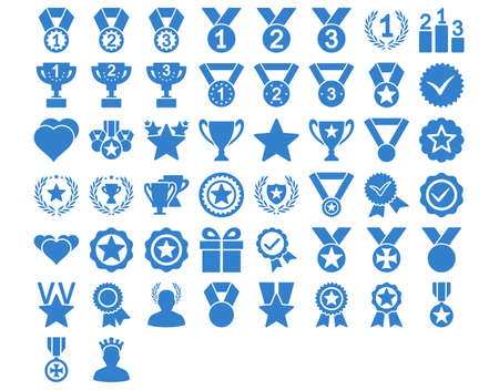 valid: Competition and Awards Icons. These flat icons use cobalt color. Vector images are isolated on a white background. Illustration