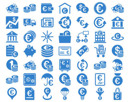 newspaper stack: Euro Banking Icons. These flat icons use cobalt color. Vector images are isolated on a white background. Illustration