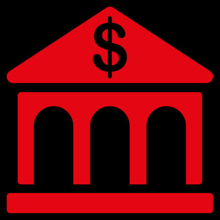 uses: Bank icon. This flat raster symbol uses red color, rounded angles, and isolated on a black background.