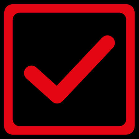 marked boxes: Checked checkbox icon. This flat raster symbol uses red color, rounded angles, and isolated on a black background. Stock Photo