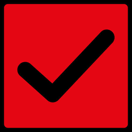 check symbol: Check icon. This flat raster symbol uses red color, rounded angles, and isolated on a black background.