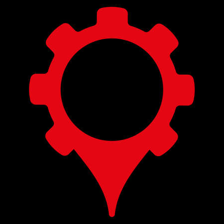 uses: GPS settings icon. This flat raster symbol uses red color, rounded angles, and isolated on a black background. Stock Photo