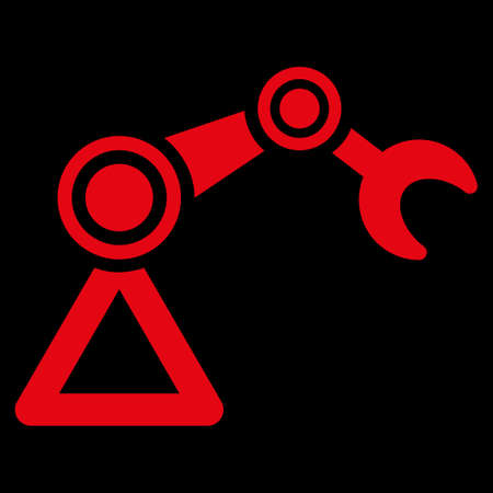 manipulator: Manipulator icon. This flat raster symbol uses red color, rounded angles, and isolated on a black background.